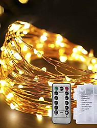 cheap -5M 50 LEDs Waterproof Battery Box Copper Wire String Light with 8-Function Remote Control for Decoration