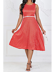 cheap -Women's Red Green Dress 1950s Vintage Going out A Line Polka Dot S M