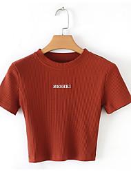 cheap -Women's Daily Wear Cotton Slim T-shirt - Geometric / Letter Black