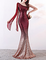 cheap -Mermaid / Trumpet Elegant & Luxurious Sexy Formal Evening Dress One Shoulder Sleeveless Sweep / Brush Train Sequined with Sequin 2020