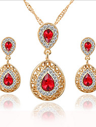 cheap -Women's Drop Earrings Pendant Necklace Cut Out Pear Stylish Classic Gold Plated Earrings Jewelry Green / Red / Blue For Daily Work 1 set
