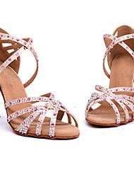 cheap -Women's Latin Shoes Ballroom Shoes Salsa Shoes Latin Salsa Dance Heel Crystal / Rhinestone Flared Heel Pink Cross Strap Glitter Crystal Sequined Jeweled / Performance / Satin