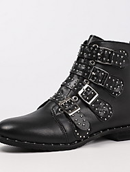 cheap -Women's Boots Motorcycle Boots Flat Heel Pointed Toe Booties Ankle Boots Daily Leather Rivet Solid Colored Black