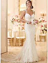 cheap -Mermaid / Trumpet Wedding Dresses V Neck Sweep / Brush Train Lace Spaghetti Strap Mordern Sexy Backless with 2021