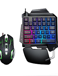cheap -LITBest USB Wired Single Handed Gaming Keyboard Backlit Illuminous Keys with Wrist Breathing Lights Mouse Combos 2 Pieces a Kit