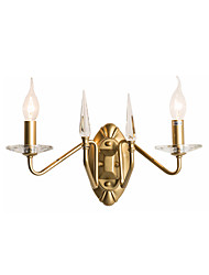 cheap -Vintage 2-Light Metal/Crystal Wall Sconce Antique Luxury Golden Metal Wall Lamp with 2 Scrolled Candle Lights Art Deco Wall Lighting for Bedroom Living Hallway