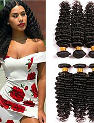 abordables -Lot de 6 Cheveux Indiens Bouclé Cheveux Naturel humain Extensions Naturelles Couleur naturelle Tissages de cheveux humains Nouvelle arrivee Grosses soldes 100% vierge Extensions de cheveux Naturel