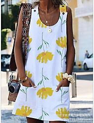 cheap -Women's Basic Tunic Dress - Floral Print Boat Neck Yellow S M L XL