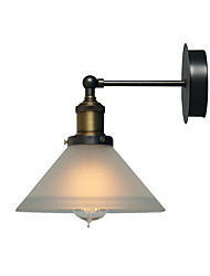 cheap -American Retro Industrial Metal Wall Light Bronze Finish White Vintage Wall Sconce Cone Glass Shade Oil Rubbed Wall Light Fixture for Bedroom Bar