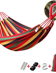 cheap -Camping Hammock Double Hammock Outdoor Portable Breathable Dust Proof Canvas for 2 person Hunting Fishing Hiking Stripes - Red Blue 200*150 cm / Anti-Rollover