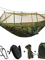 cheap -SWIFT Outdoor Camping Hammock with Mosquito Net Double Hammock Outdoor Portable Breathable Quick Dry Moistureproof Well-ventilated Parachute Nylon with Carabiners and Tree Straps for 2 person Hunting