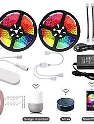 Недорогие -Комплекты светильников 2x5m KWB / RGB полосы / интеллектуальные фонари 600 светодиодов SMD5050 10 мм 1 адаптер 12В 6а / 1set
