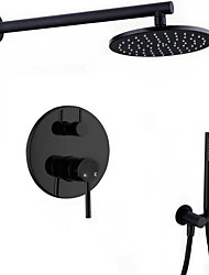 cheap -Shower Faucet -Black Contemporary N / A Wall Mounted Ceramic Valve Bath Shower Mixer Taps