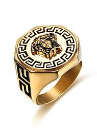 Недорогие -Муж. Кольцо 1шт Золотой Титановая сталь Геометрической формы Стиль Подарок Повседневные Бижутерия Классический бодрость Cool