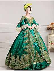 cheap -Marie Antoinette Rococo 18th Century Vacation Dress Christmas flare Dress Ball Gown Women's Lace Satin Costume Black / Burgundy / Green Vintage Cosplay Party Prom Floor Length Ball Gown Plus Size