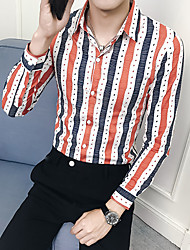 cheap -Men's Casual Basic Shirt - Striped Blue