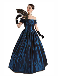 cheap -Duchess Victorian Ball Gown 1910s Edwardian Dress Party Costume Women's Cotton Costume Ink Blue Vintage Cosplay Masquerade Party & Evening Floor Length Long Length Ball Gown Plus Size