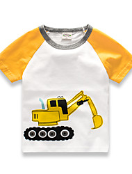 cheap -Kids Baby Boys Girls' Short Raglan Sleeve Round Collar Tops T-shirt with Cute Excavating Machinery Printing