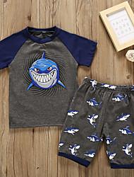 cheap -Kids Toddler Boys' Active Basic Geometric Print Cartoon Print Short Sleeve Regular Regular Cotton Clothing Set Dark Gray