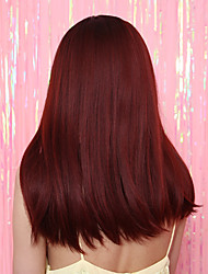 cheap -Costume Accessories Synthetic Wig Bangs Straight kinky Straight Neat Bang Wig Long Black / Red Synthetic Hair 20 inch Women's Party Synthetic New Red Black / Ombre Hair