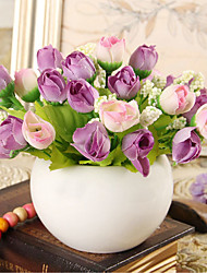 cheap -Beautiful Simulate Rose Bouquet Artificial Rosebud Home Wedding Decoration (15 Roses per Bouquet)