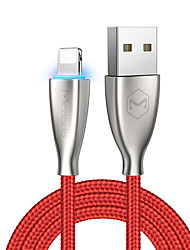 cheap -Lightning Cable 1.8m(6Ft) Braided / High Speed / Gold Plated Zinc Alloy / Nylon / Luminescent USB Cable Adapter For iPad / iPhone