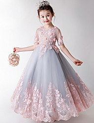 cheap -A-Line Maxi Flower Girl Dress - Polyester / Tulle Short Sleeve Jewel Neck with Appliques