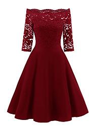 cheap -Women's Sheath Dress - Solid Colored Wine Navy Blue S M L XL