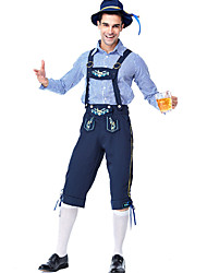 cheap -Oktoberfest Beer Outfits Lederhosen Men's Blouse Pants Bavarian Costume Blue