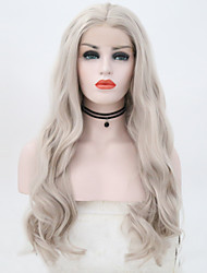 cheap -Human Hair Lace Wig Body Wave Middle Part Lace Front Wig Long Grey Synthetic Hair 26 inch Women's Women Dark Gray