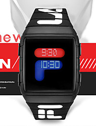 cheap -Men's Digital Watch Digital Sporty Stylish Silicone Black / Blue / Red 30 m Water Resistant / Waterproof New Design LCD Digital Casual Fashion - Black Red Blue One Year Battery Life
