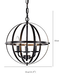 cheap -3-Light Spherical Pendant Lighting Antique Globe Pendant Light Industrial 3 Lights Candelestic Chandelier Vintage Oil Rubbed Finish Light Fixture for Living Room Hallway