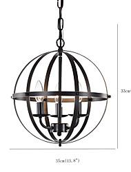 cheap -Spherical Pendant Lighting Antique Globe Pendant Light Industrial 3 Lights Candelestic Chandelier Vintage Oil Rubbed Finish Light Fixture for Living Room Hallway