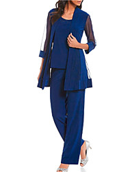 cheap -Pantsuit / Jumpsuit Mother of the Bride Dress Plus Size Wrap Included Jewel Neck Ankle Length Chiffon Half Sleeve with Lace 2020 Mother of the groom dresses