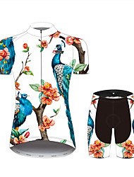 cheap -21Grams Floral Botanical Peacock Women's Short Sleeve Cycling Jersey with Shorts - Black / White Bike Clothing Suit Breathable Quick Dry Moisture Wicking Sports 100% Polyester Mountain Bike MTB