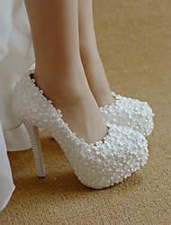 cheap -Women's Wedding Shoes Stiletto Heel Round Toe Imitation Pearl / Satin Flower PU Sweet / Minimalism Spring & Summer / Fall & Winter White / Red / Party & Evening