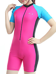 cheap -Bluedive Women's Rash Guard Dive Skin Suit Diving Suit SPF50 UV Sun Protection Quick Dry Short Sleeve Front Zip Boyleg - Swimming Diving Surfing Patchwork Classic / High Elasticity