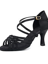 cheap -Women's Dance Shoes Satin Latin Shoes Tassel Heel Slim High Heel Black / White / khaki