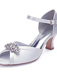 cheap -Women's Wedding Shoes Ankle Strap Heels Cuban Heel Peep Toe Wedding Sandals Vintage Classic Wedding Party & Evening Satin Rhinestone Crystal Solid Colored Summer Purple Red Blue