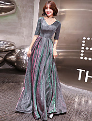 cheap -A-Line V Neck Sweep / Brush Train Polyester Sparkle & Shine / Elegant Formal Evening Dress 2020 with Pleats