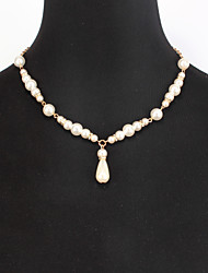 cheap -Women's Pearl Pearl Necklace Classic Flower Shape Romantic Elegant Imitation Pearl White 50+5 cm Necklace Jewelry 1pc For Wedding