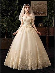 cheap -Ball Gown Bateau Neck Floor Length Tulle Long Sleeve Simple Backless Made-To-Measure Wedding Dresses with Appliques 2020
