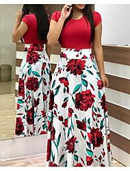 cheap -Women's Basic Maxi Swing Dress - Geometric Patchwork Black White Blushing Pink S M L XL