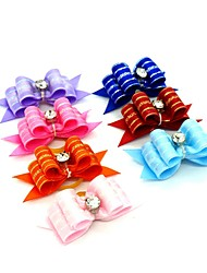 cheap -Dogs Ornaments Hair Accessories For Dog / Cat Bowknot Decoration Solid Colored Mosaic Metalic Polyester Rubber Rainbow