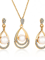 cheap -Women's Drop Earrings Necklace Hollow Drop Trendy Korean Imitation Pearl Earrings Jewelry Gold / Silver For Wedding Party Gift Daily 1 set