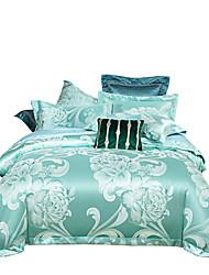 Недорогие -мятный намек блестящая принцесса 250 т люкс премиум-отель жаккард из чистого хлопка сантен шелк из четырех частей постельного белья