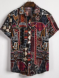 cheap -Men's Casual Linen Shirt - Graphic / Tribal Print Classic Collar Black / Short Sleeve