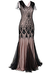 cheap -The Great Gatsby Charleston 1920s Flapper Dress Party Costume Women's Sequins Costume Black / Golden / Black / Red Vintage Cosplay Party Prom Sleeveless Maxi Mermaid / Trumpet