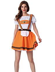 cheap -Oktoberfest Beer Dirndl Trachtenkleider Women's Dress Bavarian Costume Orange