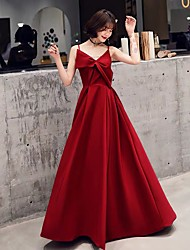 cheap -A-Line Spaghetti Strap Floor Length Satin / Stretch Satin Vintage Inspired Prom Dress 2020 with Bow(s)